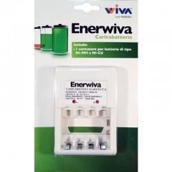 CARICABATTERIE ENERWIVA AA/AAA/9V NI-MH o NI-CD CON BATTERIE