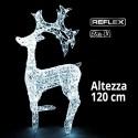Renna Led 3D luce bianca ghiaccio 120cm di altezza