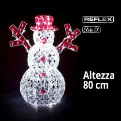 Pupazzo di Neve Led 3D luce bianca ghiaccio 80cm di altezza