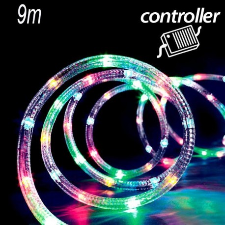 Tubo luminoso a led 9m controller 8 giochi di luce multicolor for Tubi luminosi led