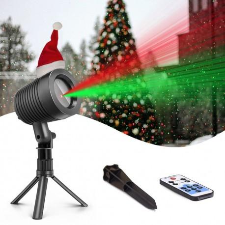 Faro proiettore laser luci di Natale a 2 colori con funzione crepuscolare telecomando wireless impermeabile IP44
