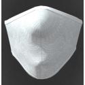 Mascherina adulto in tessuto tecnico idrorepellente lavabile 40 lavaggi colore bianco lavorato