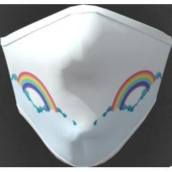 Mascherina adulto in tessuto tecnico idrorepellente lavabile 40 lavaggi con grafica arcobaleno